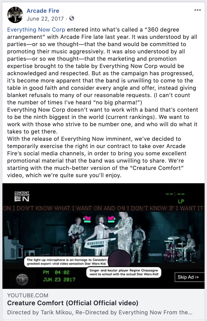 Everything Now Corp assumes control of Arcade Fire's socials