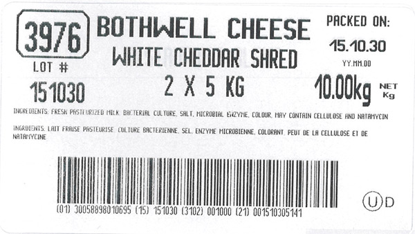 White Cheddar Shred - 10 kg (2 x 5 kg)