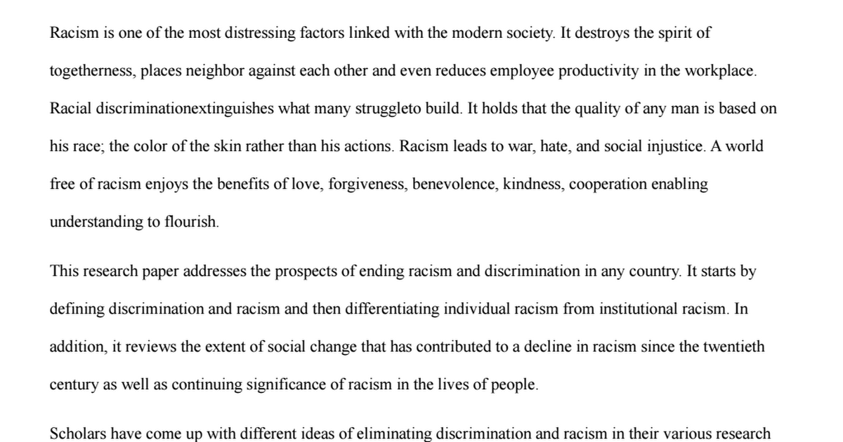 racial discrimination research paper The dynamics of discrimination this paper is available online at in defining racial discrimination, the national research council differentiates.