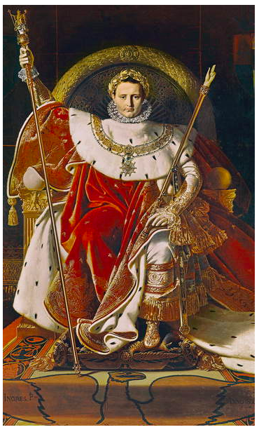 Photo image of Napoleon I (1769 - 1821) on the Imperial Throne, 1806 (oil on canvas), Ingres, Jean Auguste Dominique (1780 - 1867) / Musee de l'Armee, Paris, France © Bridgeman Images