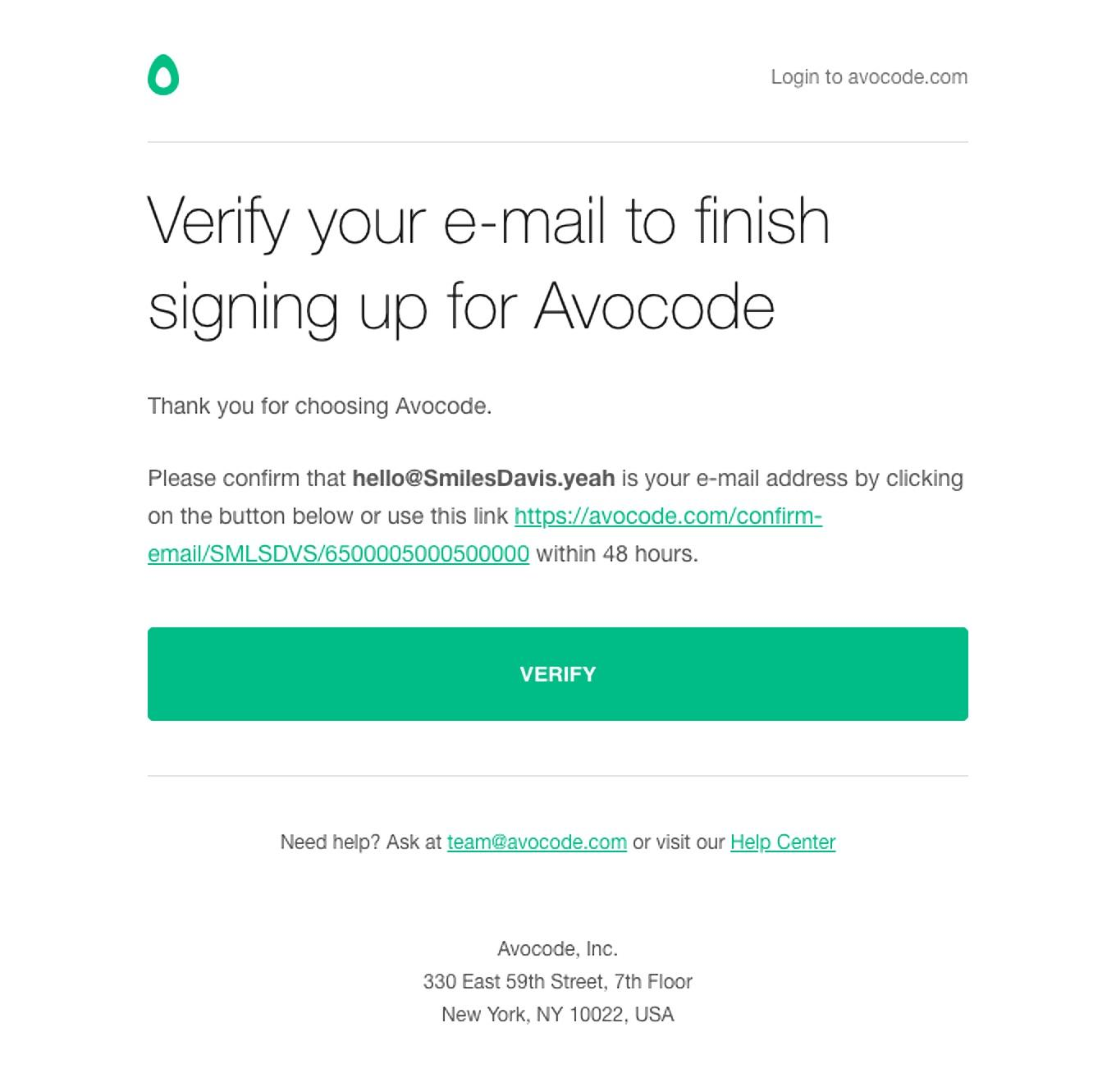 Avocode email example