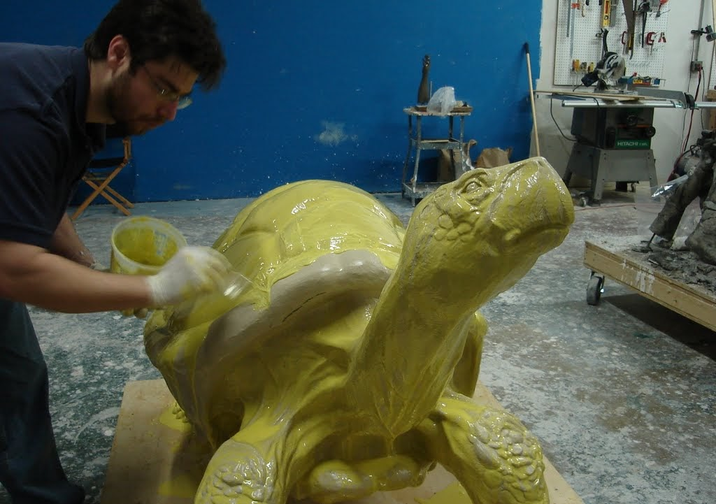 BITY Mold Supply's Mitch Rogers applying mold to sculpture