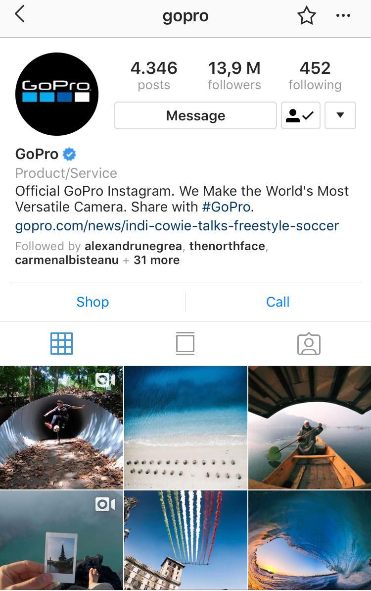 @gopro kreative Herausforderungen Instagram Posts Beispiel