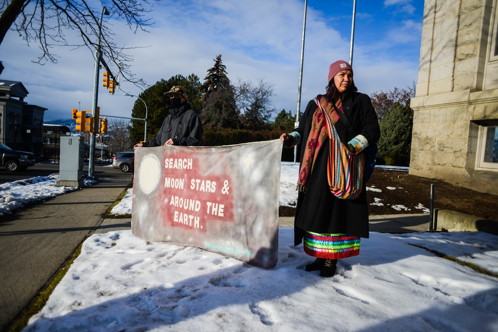 Indigenous youth rally along with matriarchs at Vernon Provincial Court.