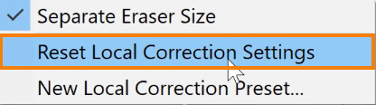 Choose Reset to Local Correction Settings
