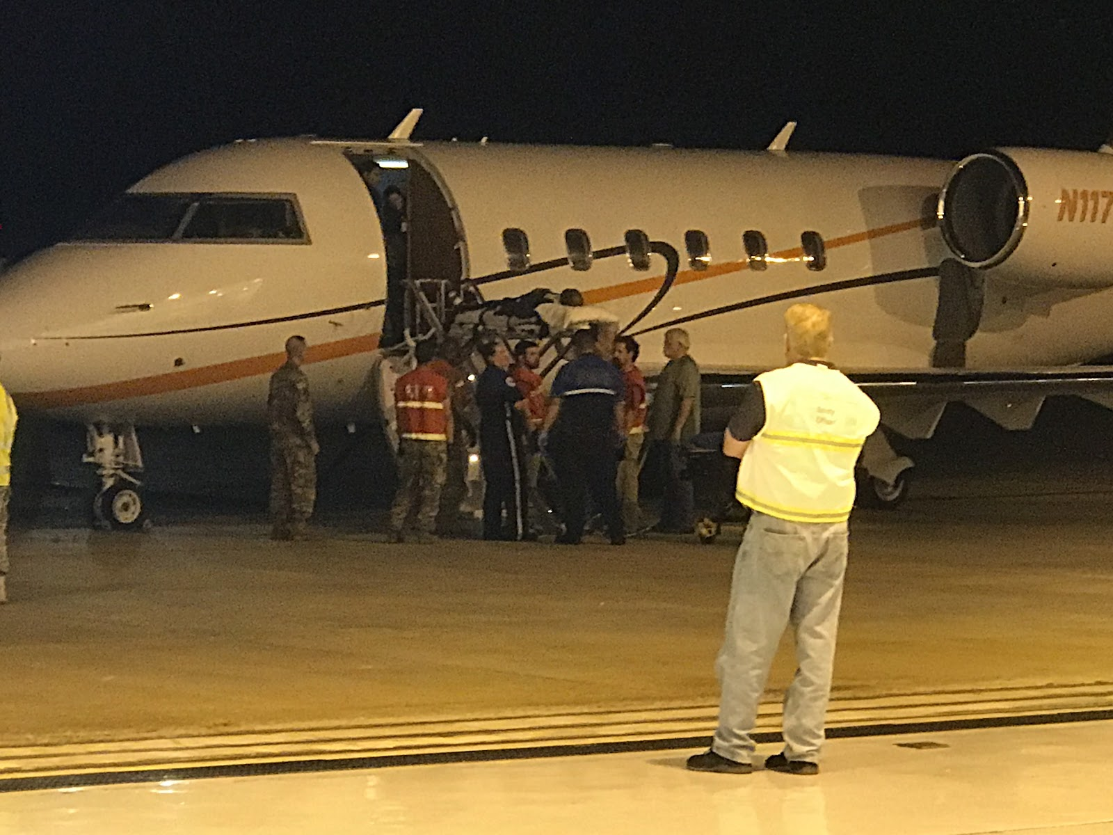 Patient coming off plane