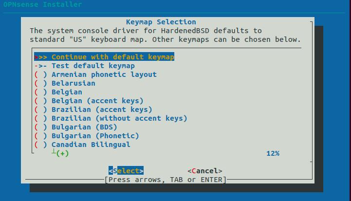 Keymap Selection