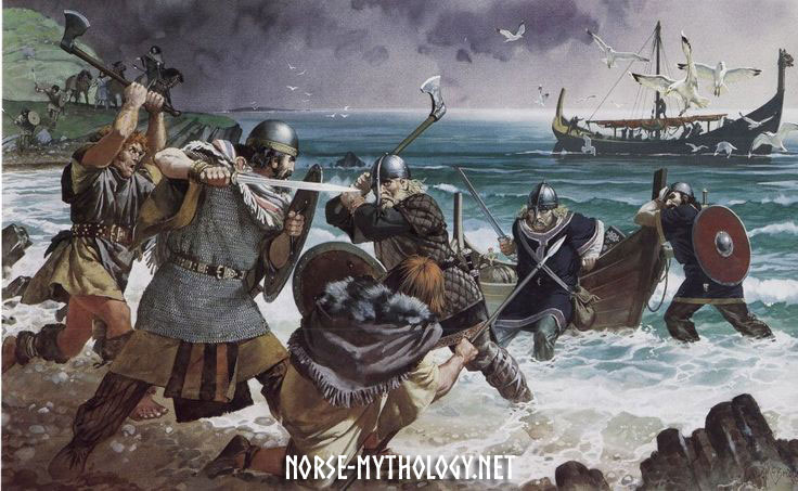 Irish-Gael-attack-a-viking-raiding-party-Painting-by-Angus-McBride-vikings.jpg