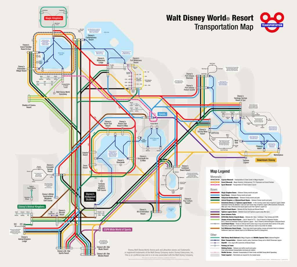 Walt Disney World Resort Transportation Map shows monorails, buses, minnie vans, and more!