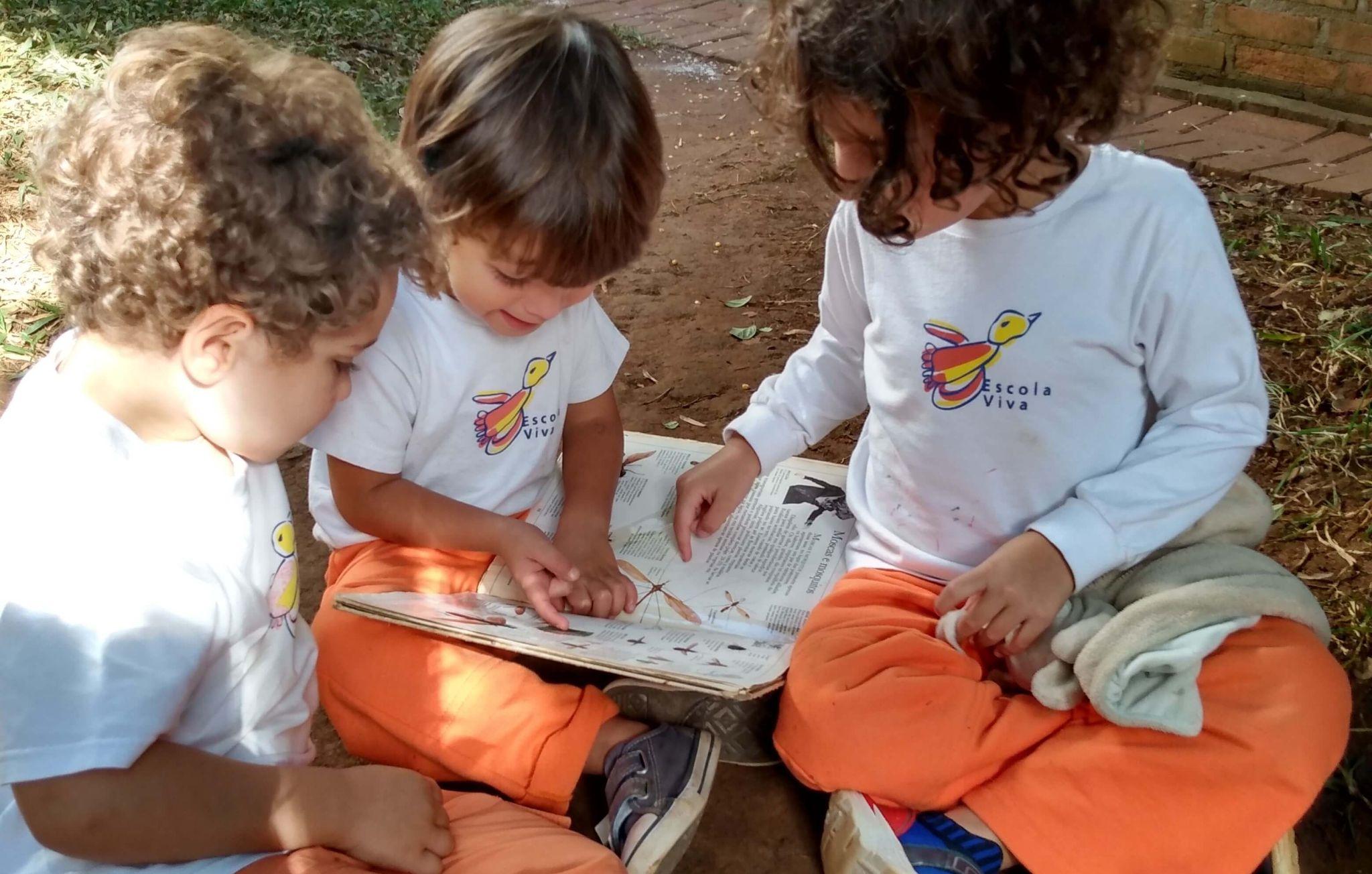 A imagem mostra um grupo de crianças lendo um livro de histórias.