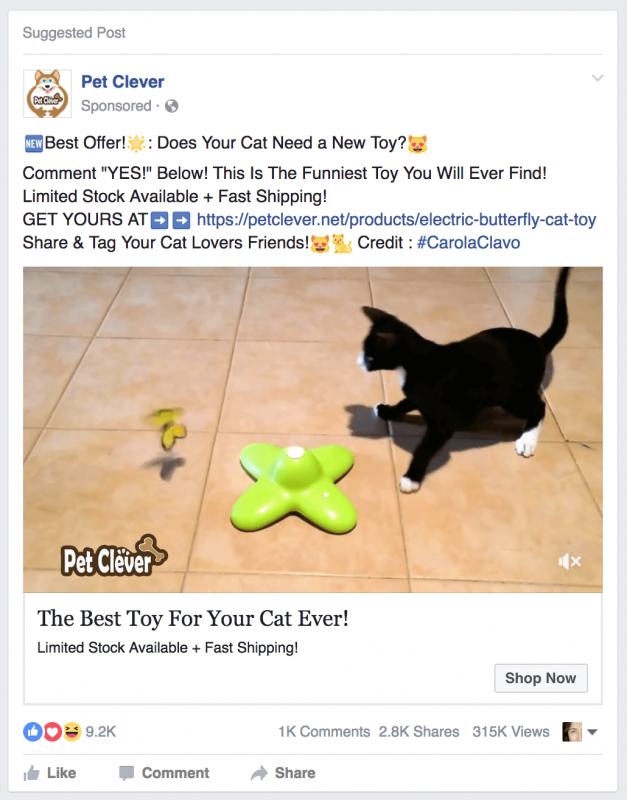 Pet Clever Facebook Ad Screenshot