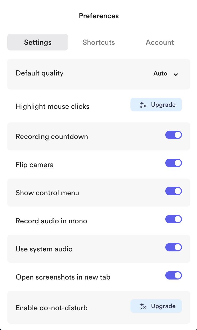 Loom Desktop app settings