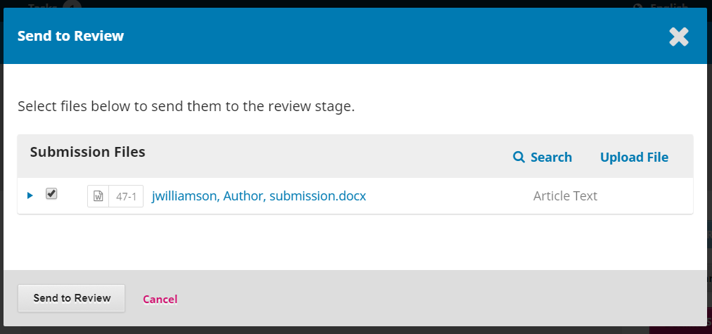 The Send to Review confirmation window.