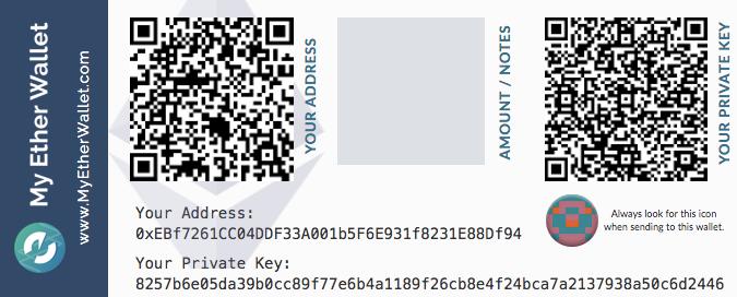 Пример бумажного криптокошелька My Ethere Wallet.