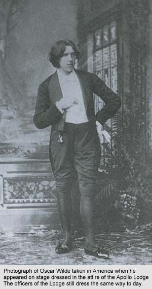 Photograph of Oscar Wilde as he appeared on stage in America at the Apollo Lodge