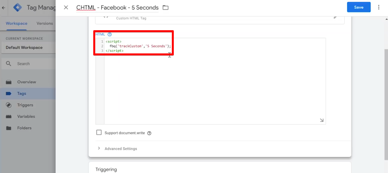 CHTML - Facebook - 5 Seconds Tag HTML code from above pasted into Tag HTML field