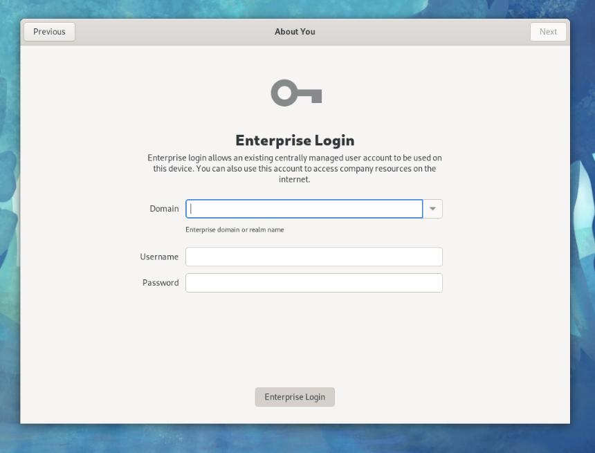 Screen capture of the Fedora Linux installer prompting for enterprise login settings.