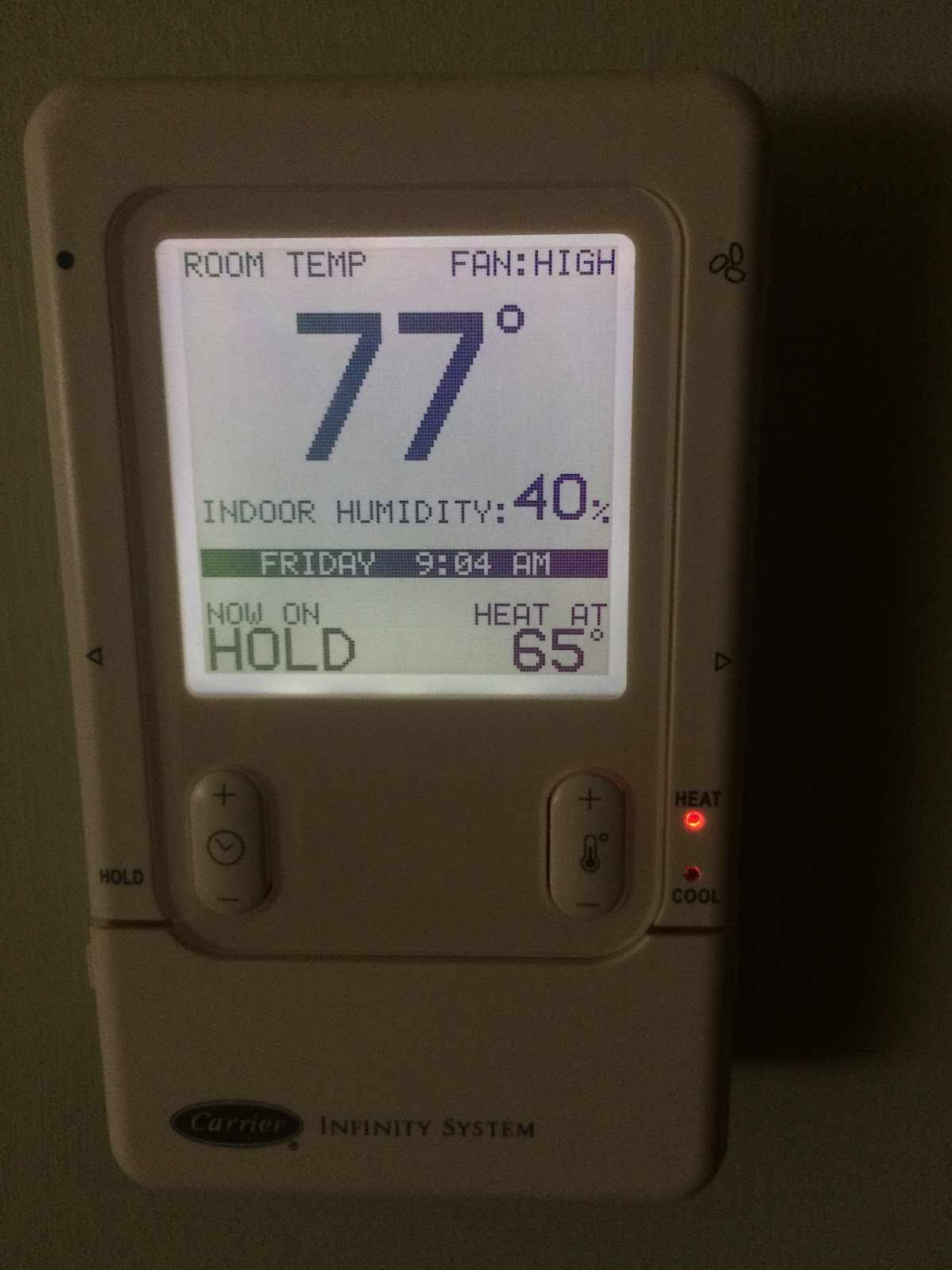 Thermostat at 77 and comfy with low humidity