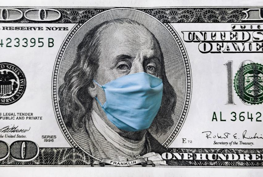 Blue medical mask on the face of Benjamin Franklin with a hundred dollar  bill. The concept of the global economic crisis associated with the  coronavirus quarantine COVID-19. - Aegis Retirement - Aegis Retirement