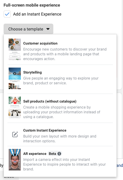 Choose from a variety of instant experience templates
