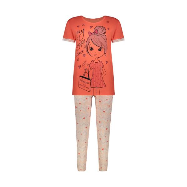 ست تی شرت وشلوار زنانه فمیلی ور طرح دختر کد 0264 رنگ نارنجی