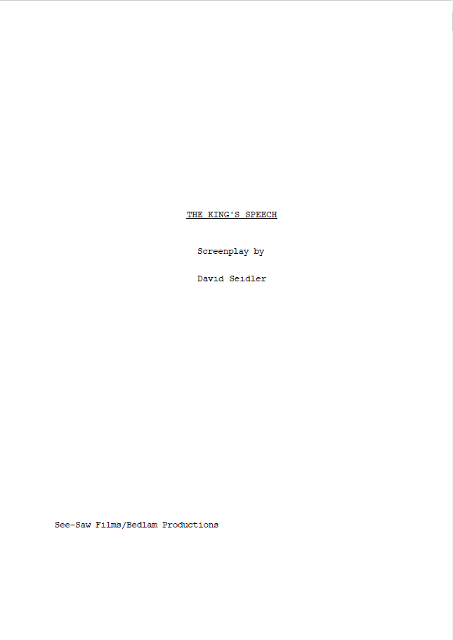 the king's speech screenplay title page