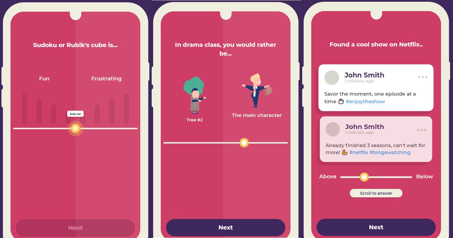 UI di dalam Dreamtalent ringan dan gamified untuk mengingkatkan pengalaman pengambil psikotes kepribadian. Desain nya modern, dengan gambar dan permainan media sosial.