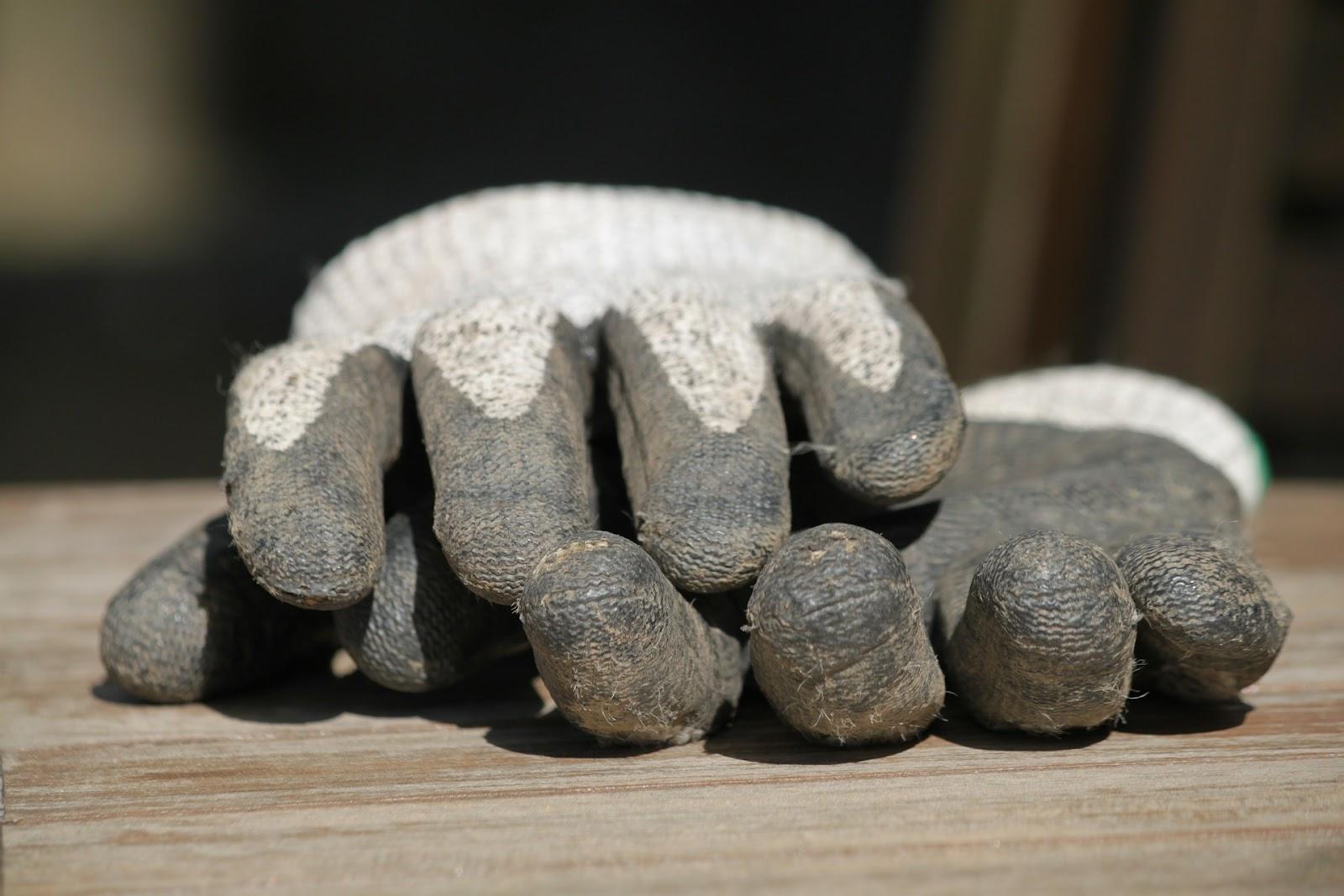 Dirty garden gloves