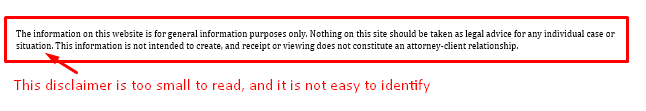 Law firm website disclaimer example