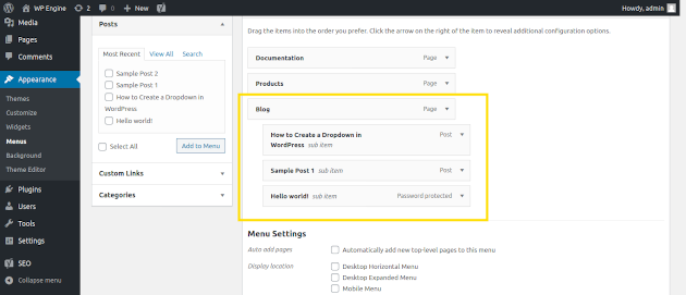 Screenshot of how to set a menu structure