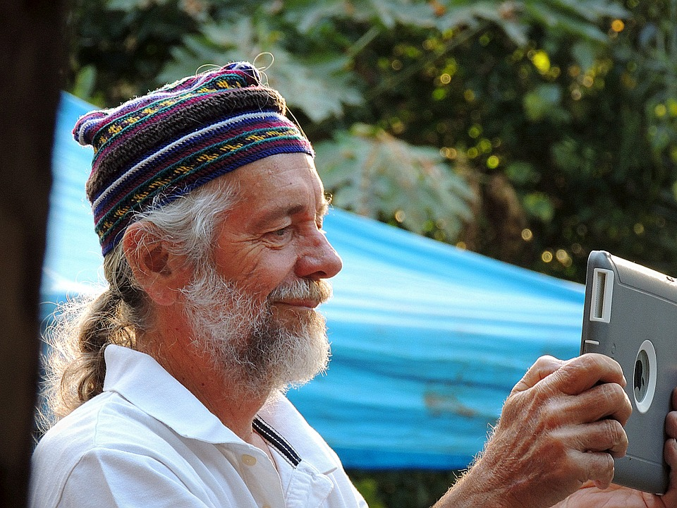 Old man learning technology