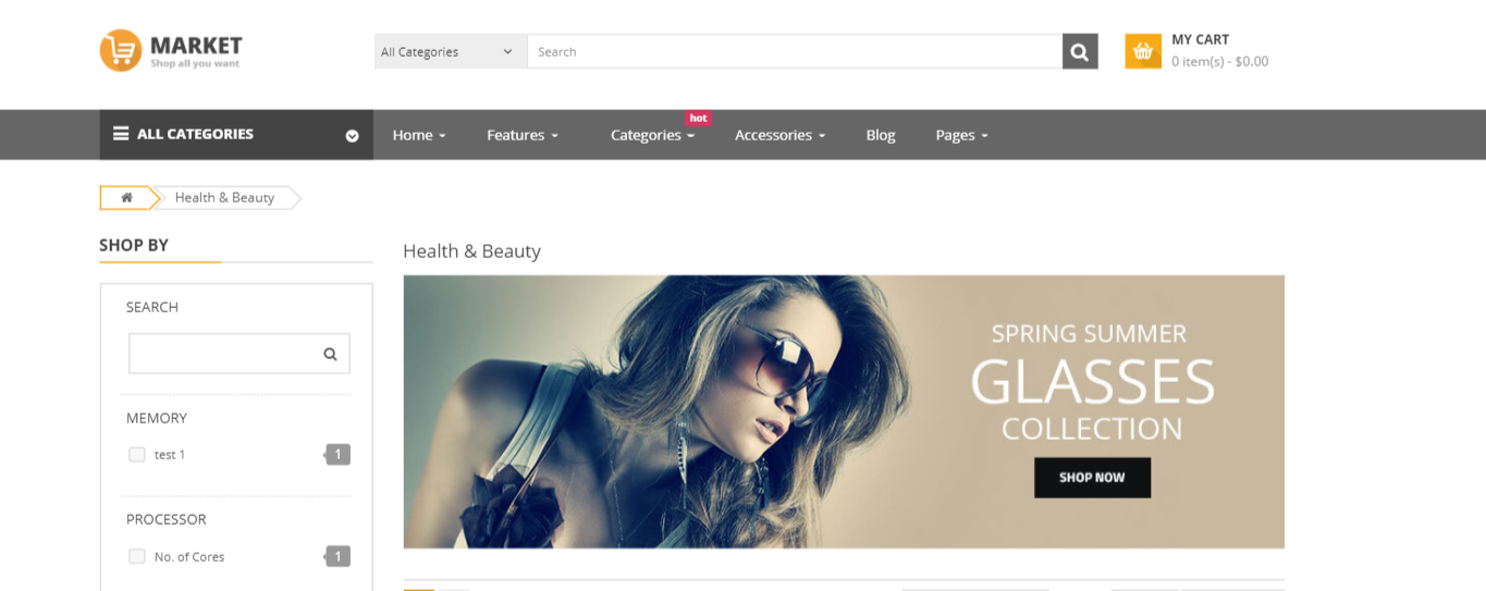 Market - Cosmetic opencart theme: