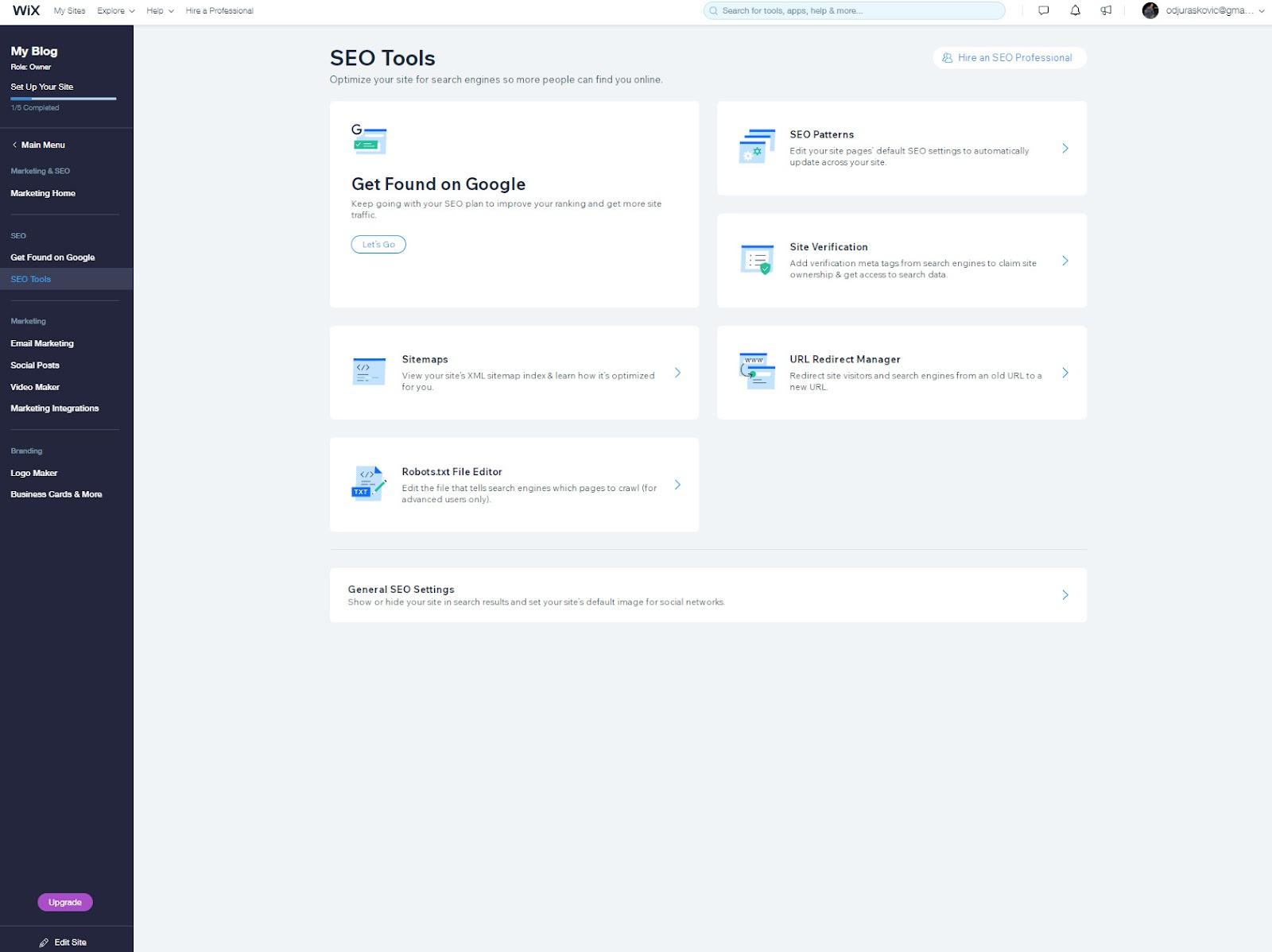 choose seo tools on wix