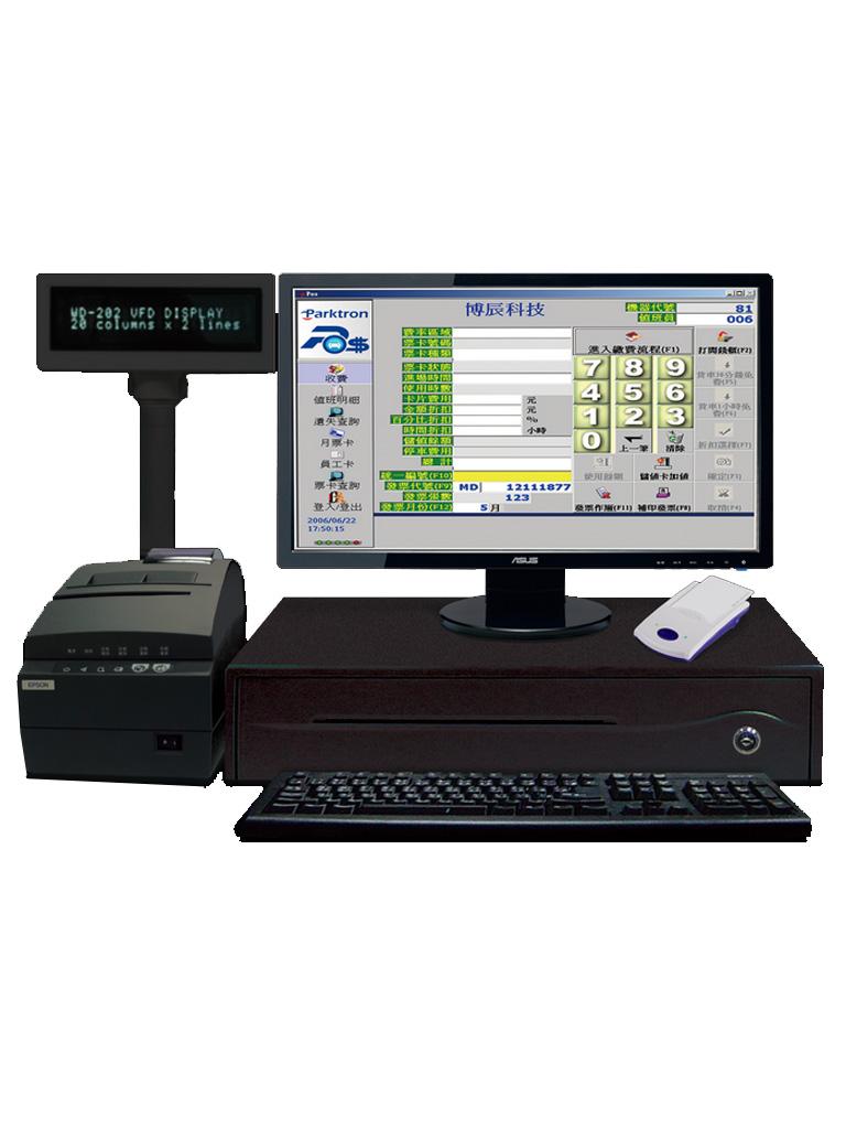 PARKTRON CCST209 - Estacion de cobro manual para CHIPCOIN / Incluye SOFTWARE, lector PCR310, MINIPRINTER, display y cajon para efectivo