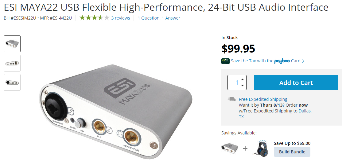 listing of a USB Audio Interface in an online shop