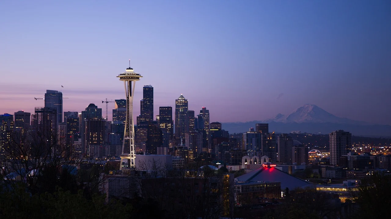 A breathtaking view of the seattle city skyline with all the skyscrapers and space needle luminated by the lights and sunset. Image found: https://pixabay.com/photos/seattle-space-needle-buildings-870282/