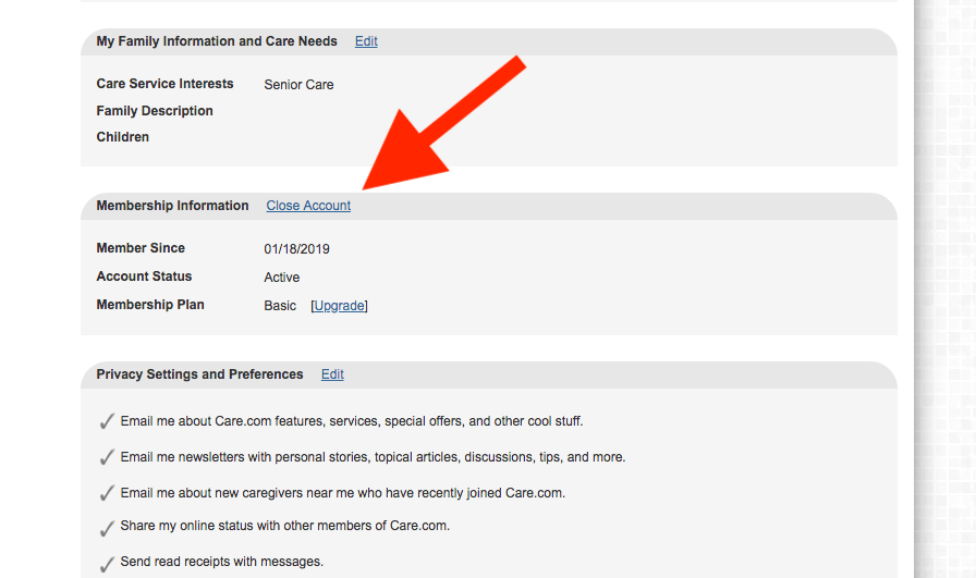 How to delete Care.com account: Arrow pointing to Close Account