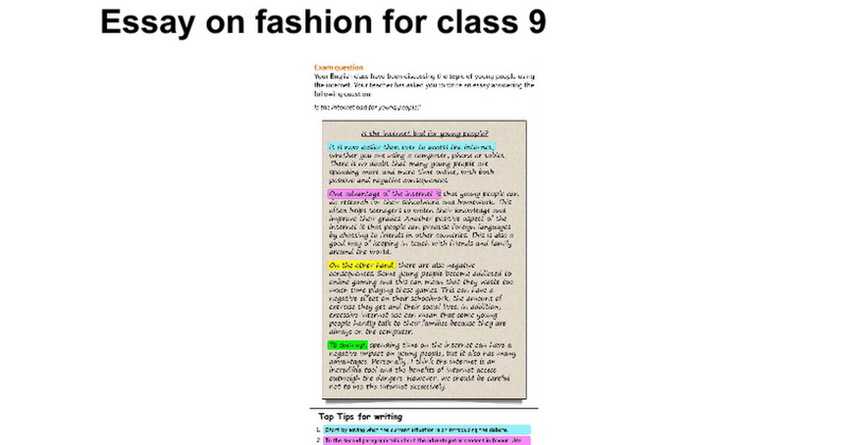 essay on fashion for class google docs