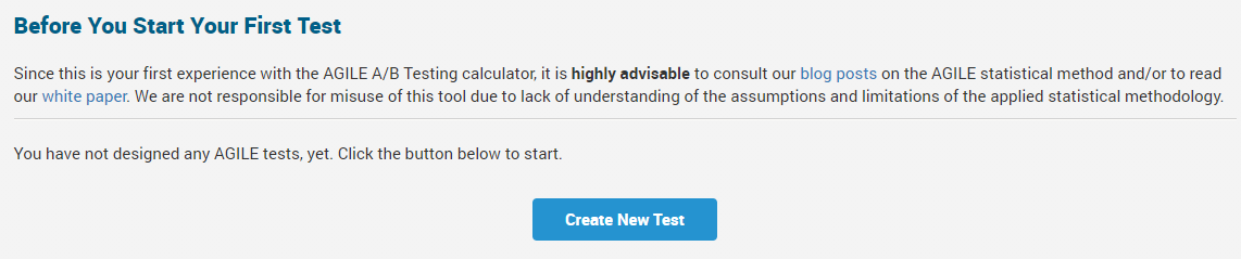 Creating a new test in analytics toolkit