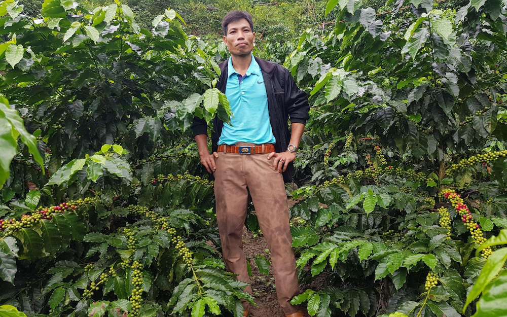 coffee farmer with his crop in vietnam