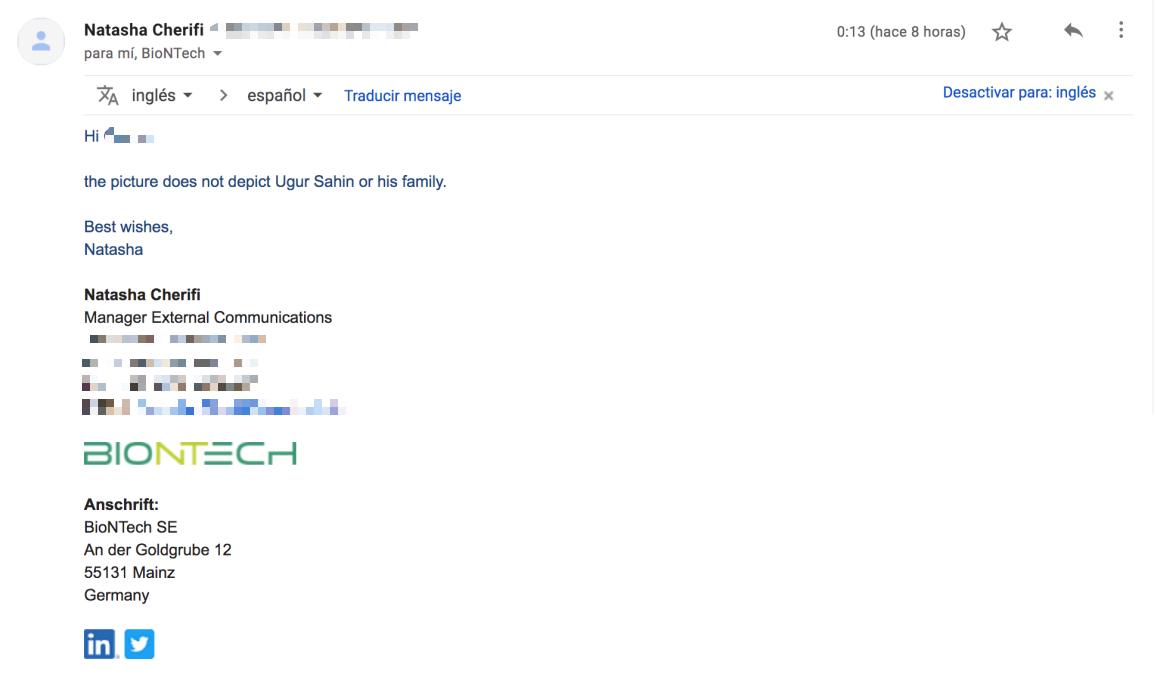 Captura respuesta Biontech a bulo de foto de cofundador