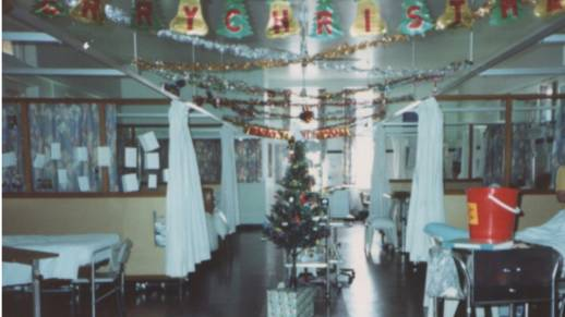 Ward 11 at Royal Newcastle Hospital decked out for Christmas just days before the 1989 earthquake. Picture: Archival image collected by Pauline Dobson and Richard Riley