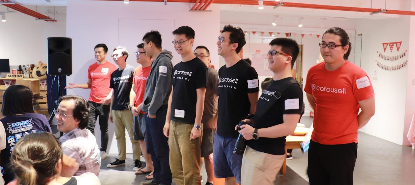 Carousell 旋轉拍賣目前在台灣的技術團隊由 20 位工程師組成,當天都留下來和大家交流