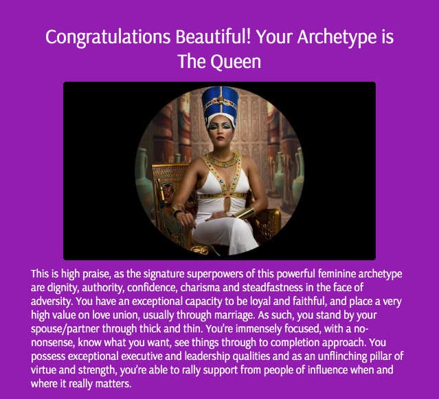 quiz result for the queen archetype
