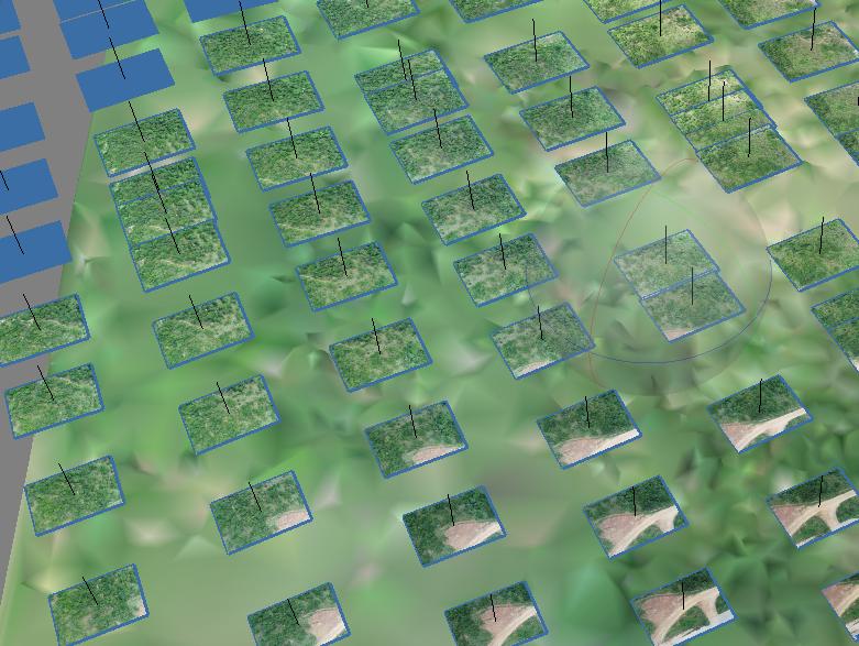Exemplo de imagens capturadas e alinhadas dentro de software específico