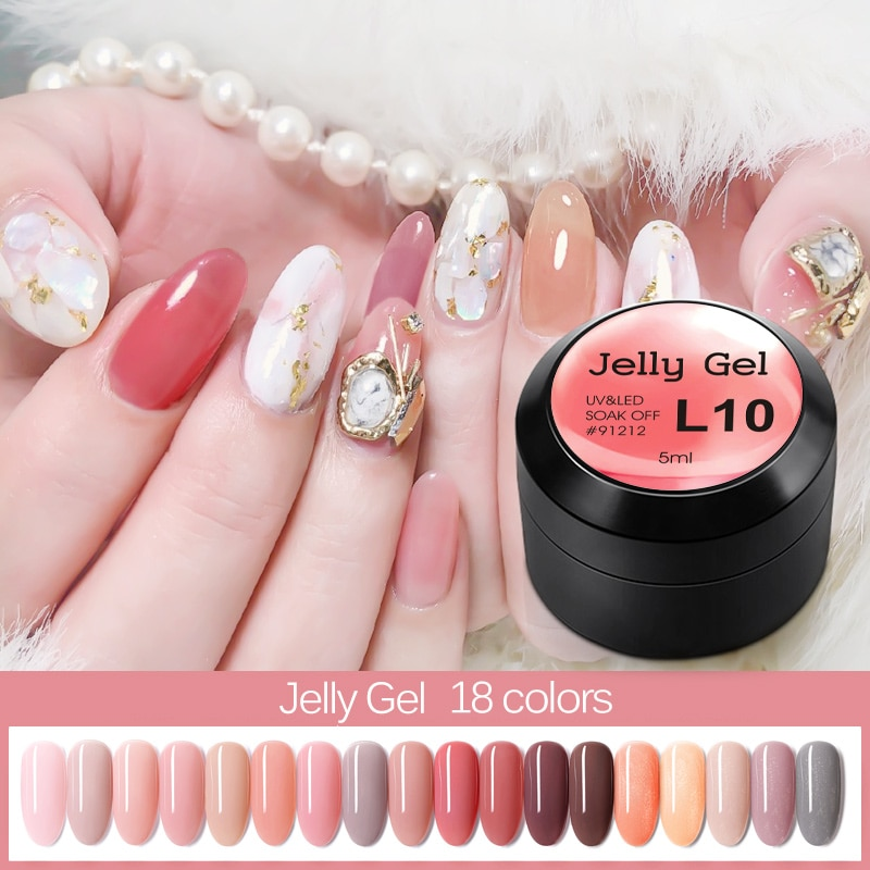 Jelly Gel Nude Glitter Transparent Clear Soak off UV GEL