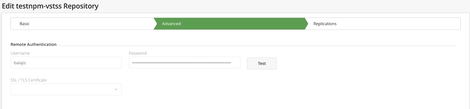 How to configure Artifactory proxy an npm package feed in VSTS?