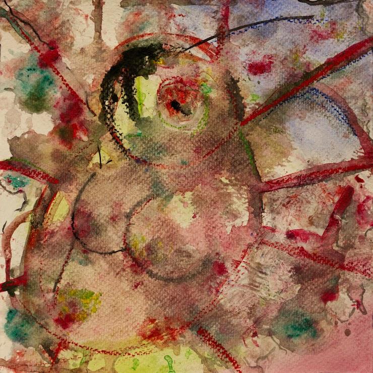Crucified ladybug watercolor on paper 21x21cm. / Разпната калинка акварел върху хартия