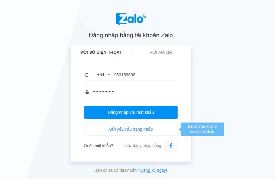 Zalo đăng nhập thông qua nhập số điện thoại, mật khẩu