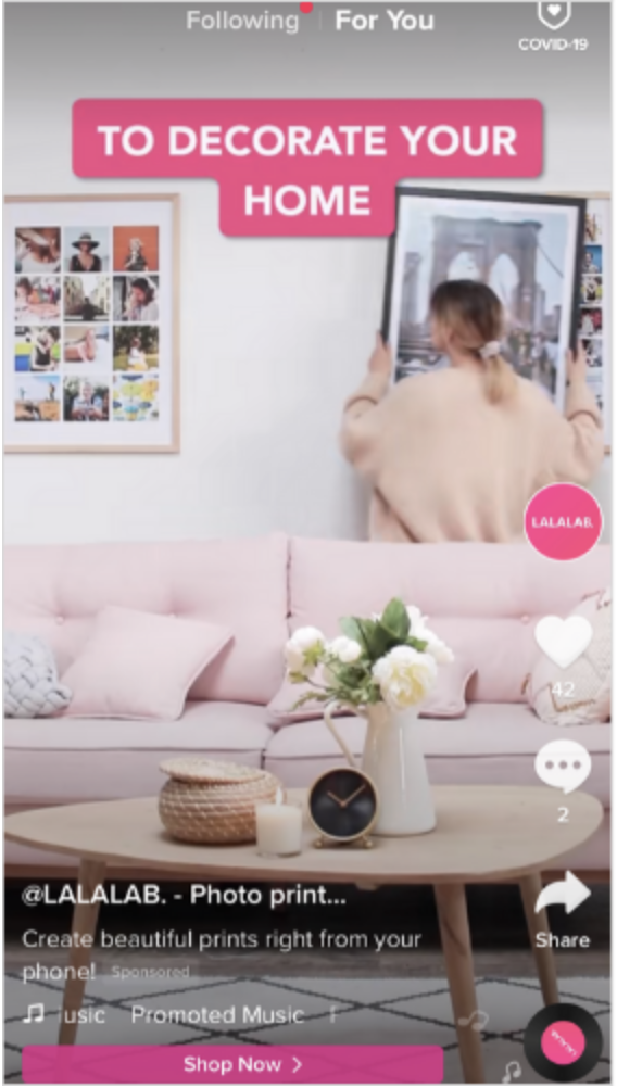 in-feed ad on TikTok